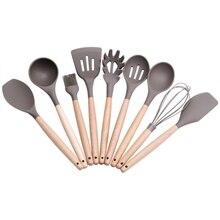 Силиконовые кухонные столовые устройства с деревянной ручкой кухонные принадлежности набор лопатка Черпак Ложка инструменты для кухни дома AXIR