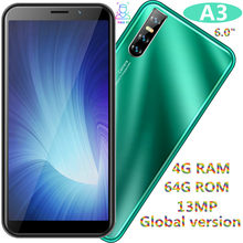 A3 global 4GRAM 64GROM 13MP smartphones 6 0inch face ID unlocked quad core android mobile phones cheap celulares wifi 2SIM WCDMA cheap eaun Detachable 64GB Face Recognition Up To 48 Hours 3200 Adaptive Fast Charge Smart Phones Bluetooth 5 0 Capacitive Screen