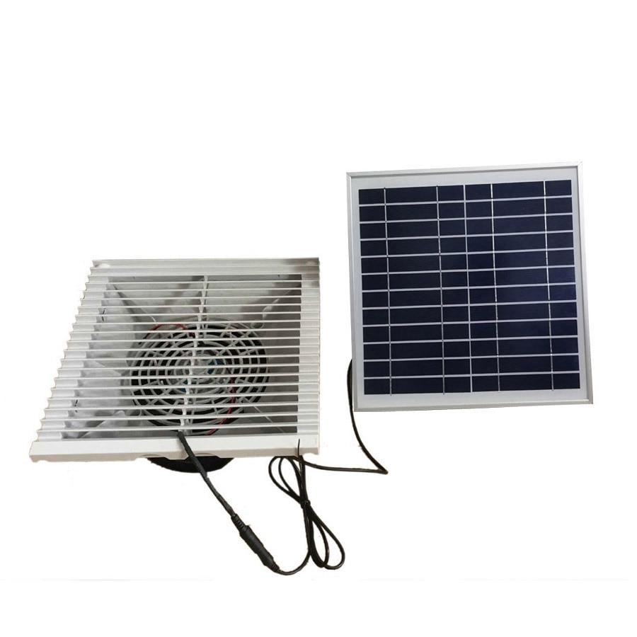 135CFM ventilateur d'échappement en plastique solaire 15W ventilateur mural extracteur moteur sans brosse