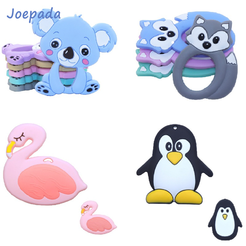Joepada 1Pc Baby Teething Toys Animal Koala Raccoon Fox Penguin Silicone Teether For DIY Baby Teething Necklace Silicone Beads