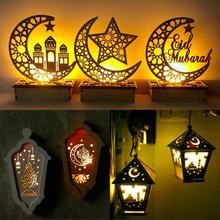 Holz Licht Glücklich Eid Mubarak Party Decor Islamischen Muslimischen Ramadan und Eid Decor Kareem Ramadan Dekor für Home Geschenke Eid al Adha