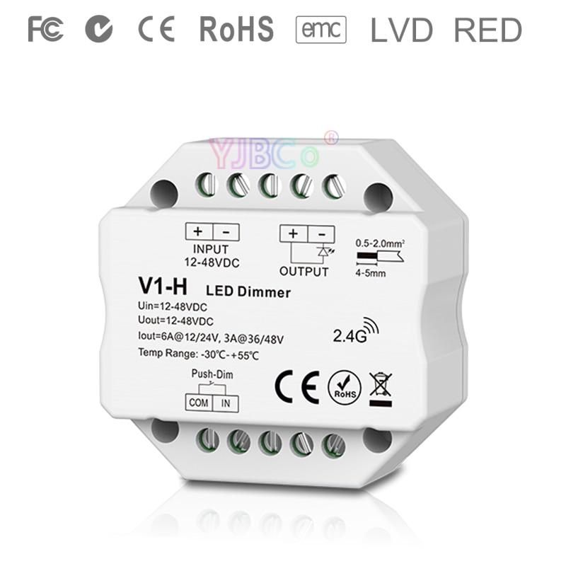 V1-H 2.4G RF Single Color Led Dimmer Push Dim DC 12V 24V 36V 48V Step-less Dimming Led Controller For Single Color Led Strip