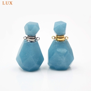 Image 1 - Aquamarines perfume bottle natural Gems stone Pendant Necklace faceted Essential Oil bottle charm December Birthstone girl Gifts