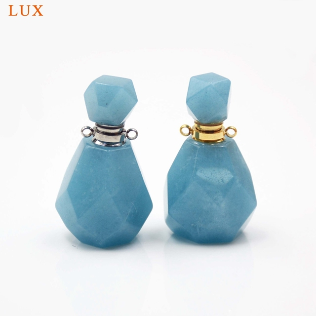 Aquamarines perfume bottle natural Gems stone Pendant Necklace faceted Essential Oil bottle charm December Birthstone girl Gifts