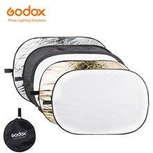 Godox 5 ב 1 אחת 100*150CM רקע לוח עגול מלבן רפלקטור מתקפל תאורה מפזר דיסק שחור כסף זהב לבן