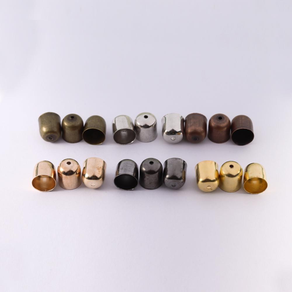 50-100 sztuk skórzane sznury bransoletki klamra znalezienie końcówki Tassel czapki 3 4 5 7 8 10 mm Crimp koraliki końcowe czapki dla DIY tworzenia biżuterii