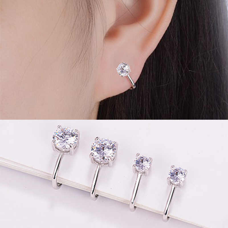 Filled Tragus Earring Ear Clip Wedding Ear Cuff Crystal Top Quality Non Piercing Clip Earring 1Pair Silver Girls Zircon Women