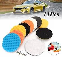11pcs/lot 3 Inch Car Wash Sponge Polishing Waxing Buffing Pads Kit Car Polisher Drill Adapter Car Wash Auto Detailing Cleaning