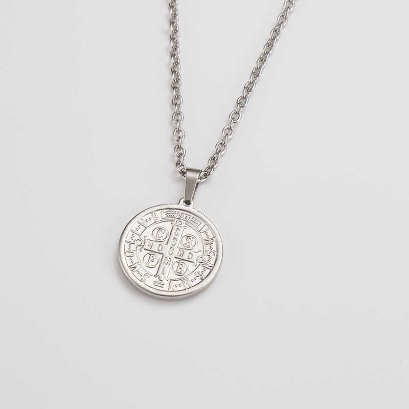 OQEPJ ศาสนา Tree Of Life Saint Benedict Against Evil เหรียญจี้สร้อยคอเครื่องประดับสแตนเลสสำหรับ Unisex เงินสี