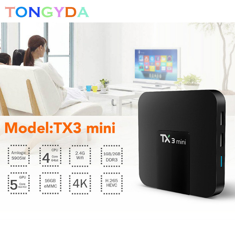 <font><b>TX3</b></font> <font><b>Mini</b></font> Android 7.1 TV Box Smart TV H2.65 IPTV 4K Set Top Box TVBOX IPTV Media Player Amlogic S905W 2G 16G <font><b>Tanix</b></font> Smart TV Box image