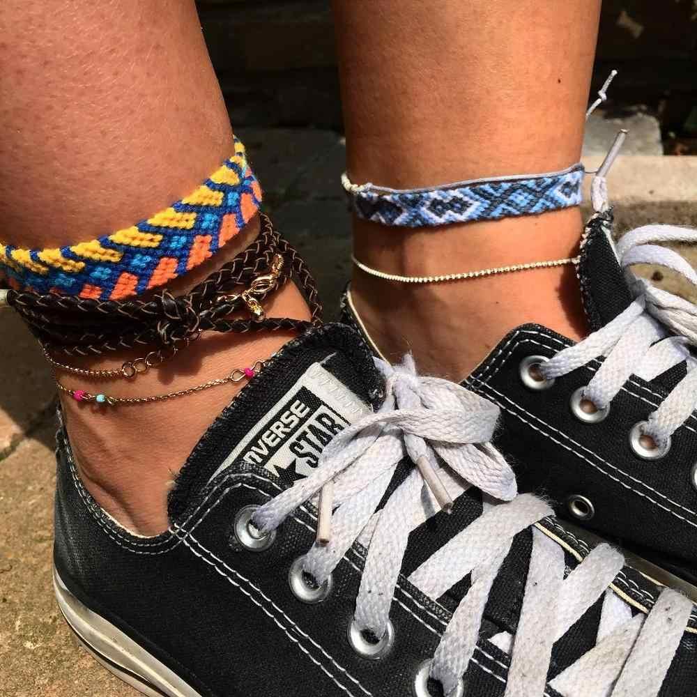 Girlgo 2019 OM ルーン織りデニム女性自由奔放に生きるマルチカラーハンドメイドブレスレット女性ビーチフットジュエリーギフトドロップシップ