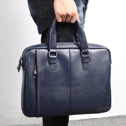 Nesitu promoción A4 negro café azul maletín de cuero genuino de oficina para hombre portafolio de negocios bolsas de mensajero de hombro M255605