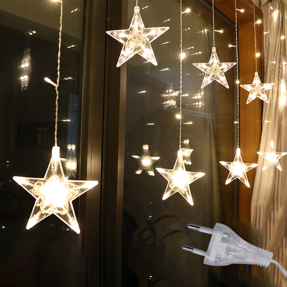 2.5M LED Star Christmas Garland Curtain Light 220V EU Fairy String Light Outdoor For Party Holiday Wedding New Year 's Decor