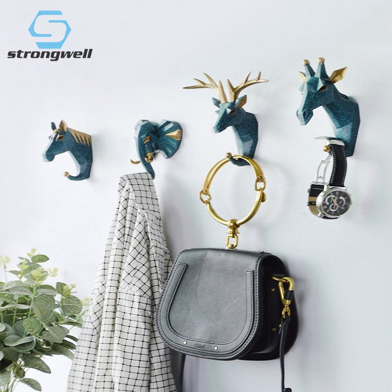 Strongwell Nordic Hanging Key Hook Multifunctional Animal Free Punch Hook Wall Coat Hook Head Coat Hook Home Decoration