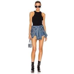 Лето 2020, крутая мода, для отдыха, высокая мода, aw King, имитация двух частей, высокая талия, джинсы, сексуальные женские шорты