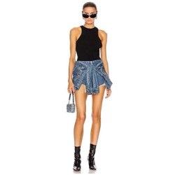 2020 sommer coole mode freizeit high-end aw König der gefälschte zwei stück hohe taille jeans sexy frauen shorts