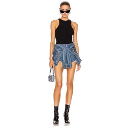 2020 summer cool fashion leisure high end aw King's fake two piece high waist jeans sexy women's shorts