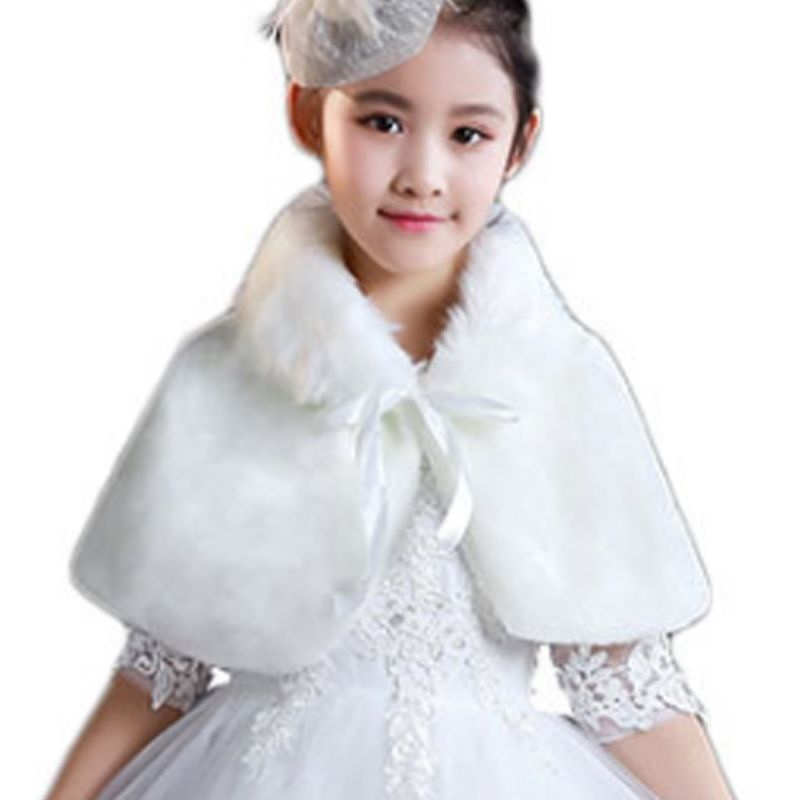 Flower Girls Winter Wedding Thicken Plush Shawl Wrap Princess Lapel Collar Short Bolero Shrug Cape With Satin Ribbon Bowknot