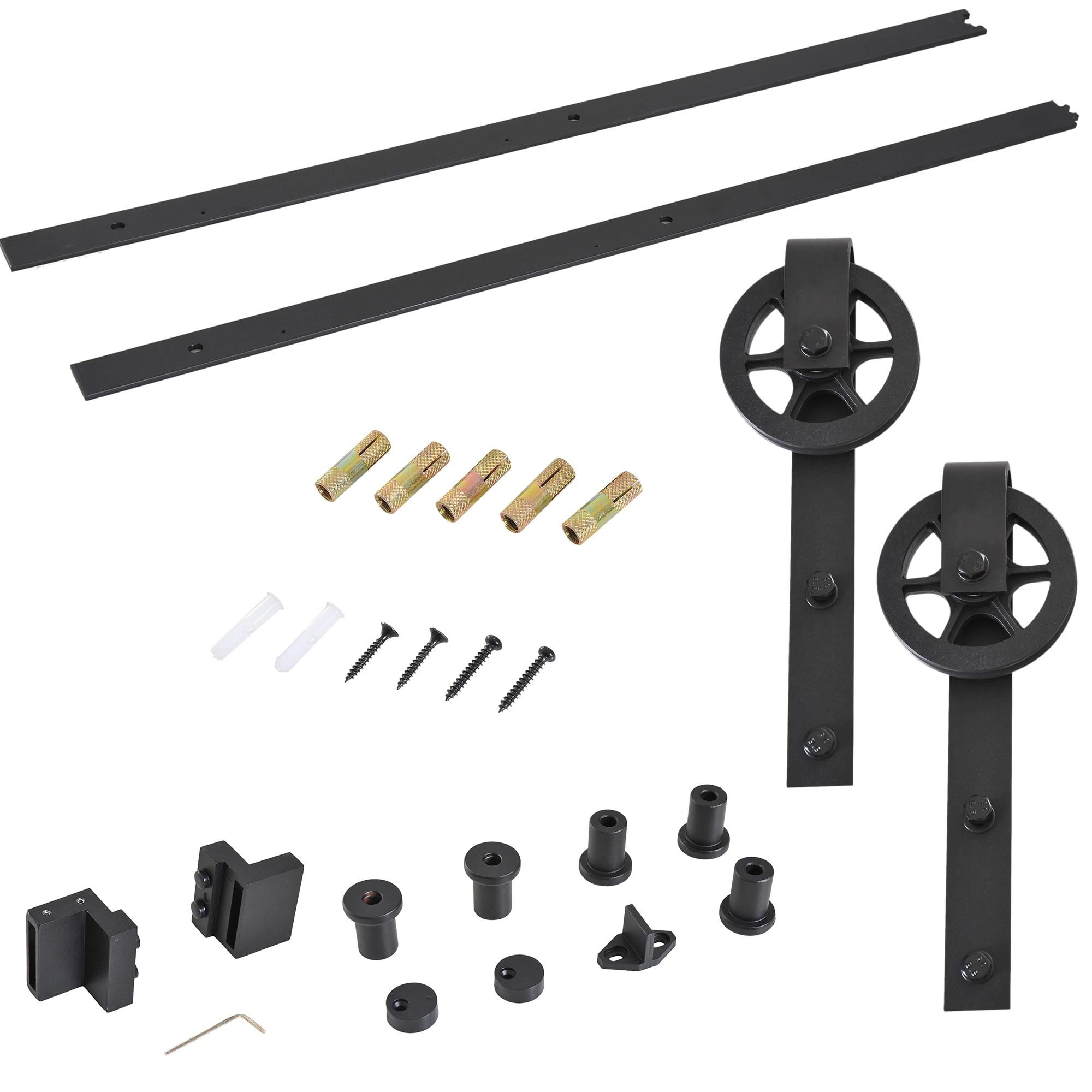 HOMCOM Set Accessories Track Thickness 34-40mm For Installation Sliding Door Steel Black