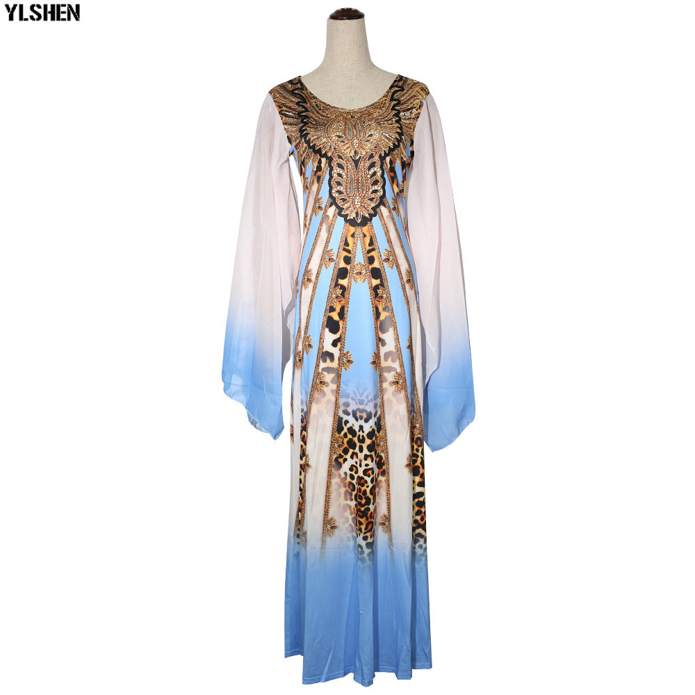 New African Dresses for Women Dashiki Print African Clothes Bazin Riche Sexy Slim Ruffle Sleeve Long Africa Maxi Dress Woman 34