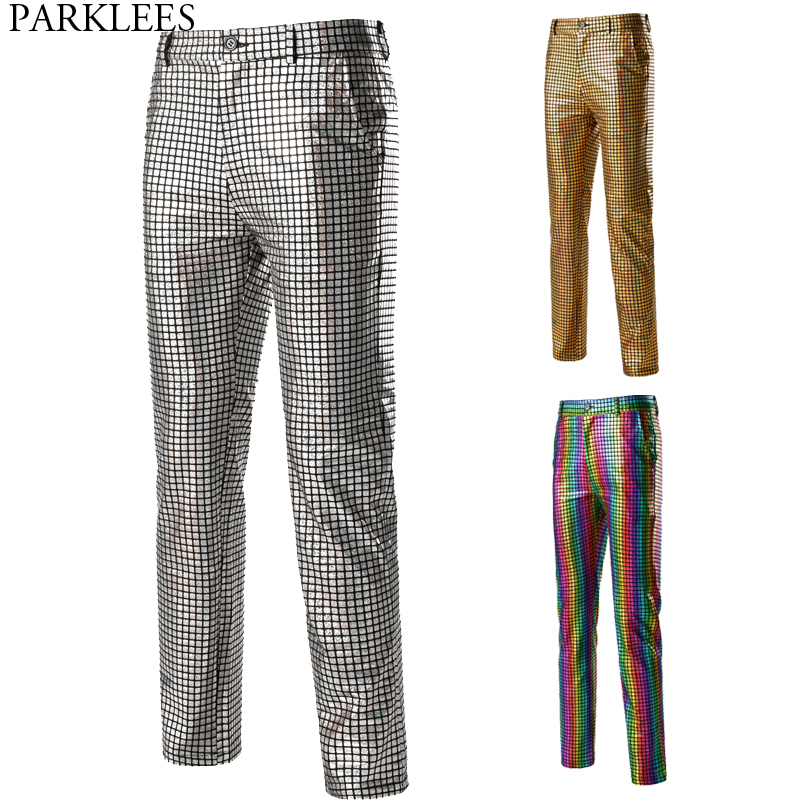 Mens Dancer Stage Pants Gold Silver Rainbow Plaid Sequin Trousers Men Disco Festival Christmas Party Prom Pantalones Hombre 3XL