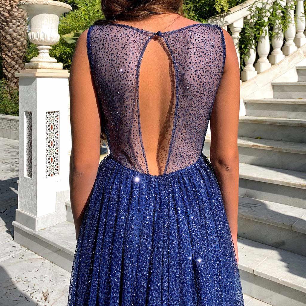 여성 빈티지 스팽글 민소매 스파게티 스트랩 볼 가운 드레스 백리스 이브닝 파티 맥시 드레스 vestidos mujer sukienki