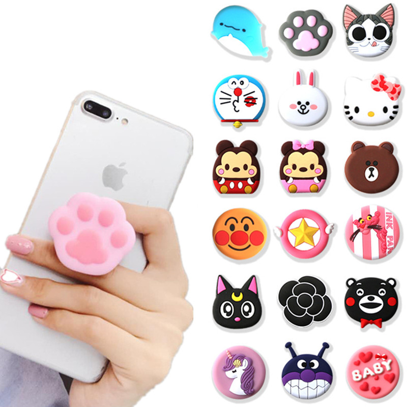 NEW 1PCS Universal Mobile Phone Bracket Cute 3D Animal Airbag Phone Expanding Stand Finger Holder Rabbit Bear Phone Holder Stand