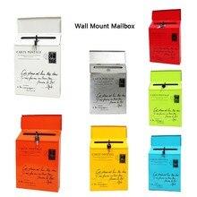 Ретро пасторальный настенный почтовый ящик модное ведро газетные коробки почтовая коробка металлический замок для почтового ящика украшения сада
