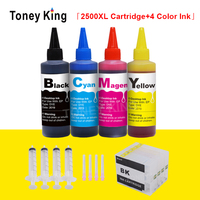 Toney rei recarga cartucho de tinta para canon PGI-2500 xl + 400ml garrafa tinta para pgi 2500 maxify mb5050 mb5150 mb5350 mb5450 impressora