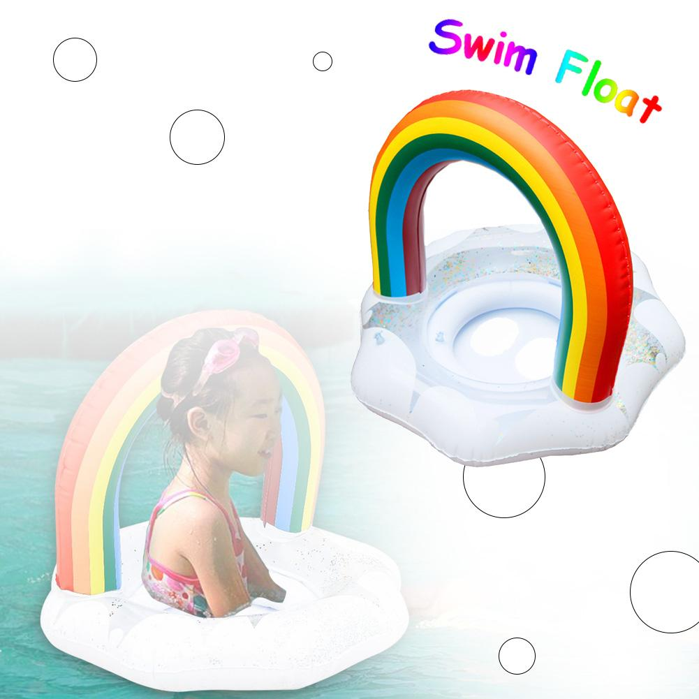 Kids Swim Float Rainbow Swimming Ring Thickened Lifebuoy For Babies Toddlers