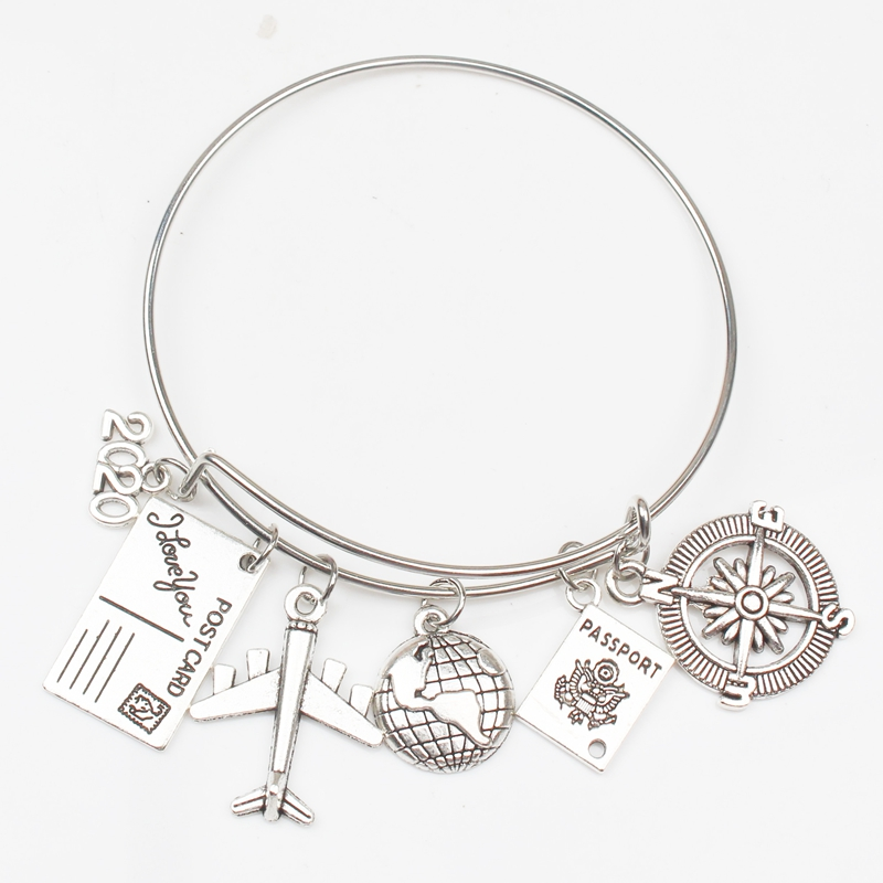 2019 2020 2021 2022 Earth Plane Postcard Alloy Bracelet Compass Pendant Travel Bracelet Best Friend Jewelry Gift Handmade DIY