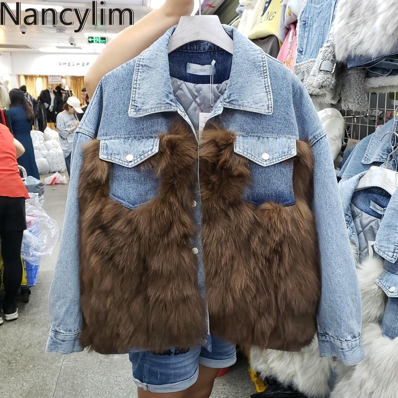 Джинсовая куртка из натурального меха, пальто для женщин, зимняя теплая куртка, новинка, утолщенная короткая стильная Свободная куртка из н