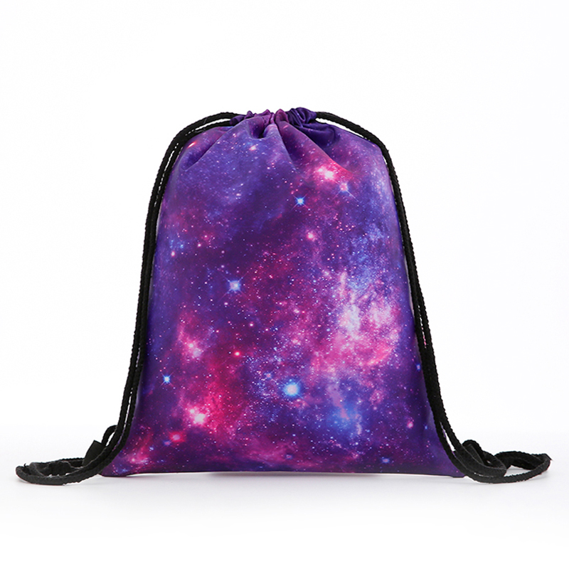 Backpack Starry Sky New Fashion Women Mini Drawstring Backpack 3D Printing Travel Softback Bags Men Mochila Drawstring Bag Girs