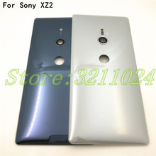 "Yeni 5.7 ""Sony Xperia XZ2 H8216 H8266 H8276 H8296 arka pil Metal kapağı arka kapı konut Case ile kamera Lens + Logo"