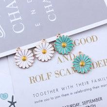 10pcs/pack Cute Daisy Sun Flower  Enamel Charms Metal Golden Pendant Earring DIY Fashion Jewelry Accessories 18*21mm