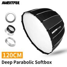 AMBITFUL P120 120CM 16 Metal Rods Deep Parabolic Softbox Bowens Profoto Elinchrom Mount Studio Flash Reflector Studio Softbox