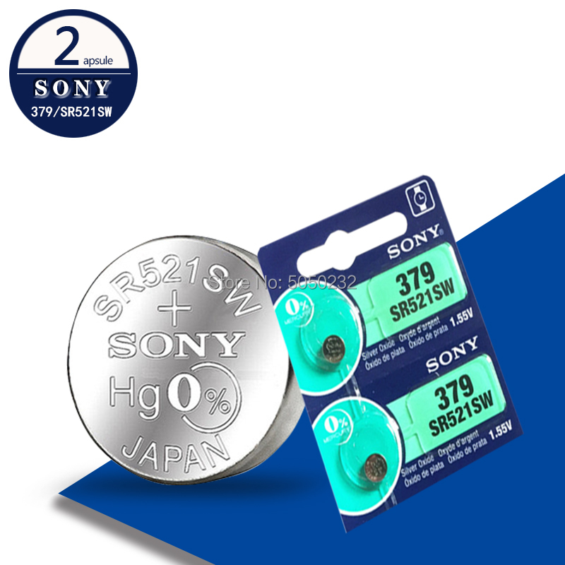 2PCS FOR SONY Watch Battery 1.55V 379 SR521SW D379 SR63 V379 AG0 Silver oxide Button Coin Cell Batteries MADE IN JAPAN