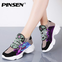 PINSEN 2019 Autumn Sneakers Women High Quality Platform Flats Shoes Woman Lace up Casual Ladies Chunky Sneakers zapatillas mujer