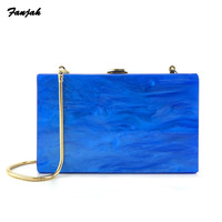 Pearl Blue White Pink Acrylic Box Clutches Wallet Purse Obag Travel Summer Beach Party Evening Shoulder Handbags Female Bags