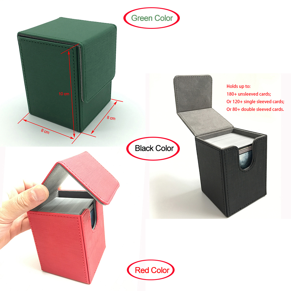 Small Size Top Open Mtg Deck Box Deck Case Trading Card Box Pokemon cards box: Green, Black, Red image