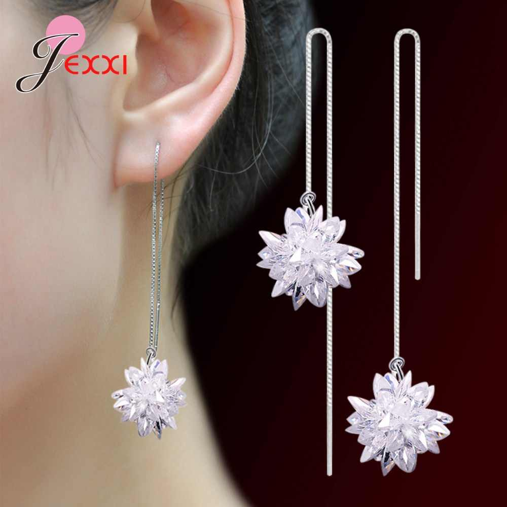 New Trendy S925 Silver Drop Earrings Decoration Jewelry for Femme Wife Birthday Anniversary Gifts White Ice Flower Ornaments