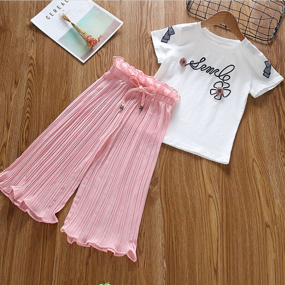Hot! Baby Girls Fashion Clothes Set GoodLock Toddler Kids Sleeveless Letter Print Tassels T Shirt Shorts Outfits 2Pcs