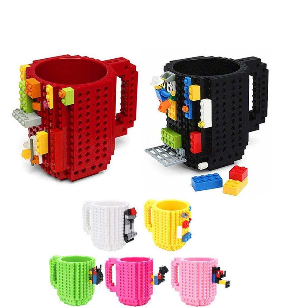 350ml DIY Building Blocks Toy Milk Cups Coffee Mugs Compatible Legoings Creative Kit Enlighten Toys for Children Birthday Gifts