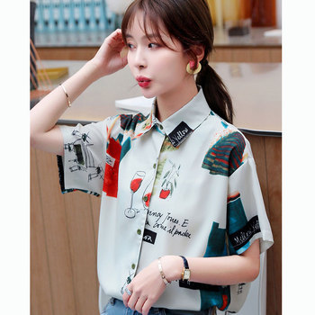 Chiffon Blouses Shirt Korean Style Women Clothes Half Sleeve Vintage Shirts Fashion 2020 New Summer Blouse Shirt Vetement Femme spring summer cool shirt touch your heart yoo in na long pagoda sleeves shirts korean dramas wu true sincerely chiffon