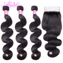 Abijale Body Wave Bundles With Closure Brazilian Hair Weave Bundles With Closure Human Hair Bundles With Closure Remy(China)