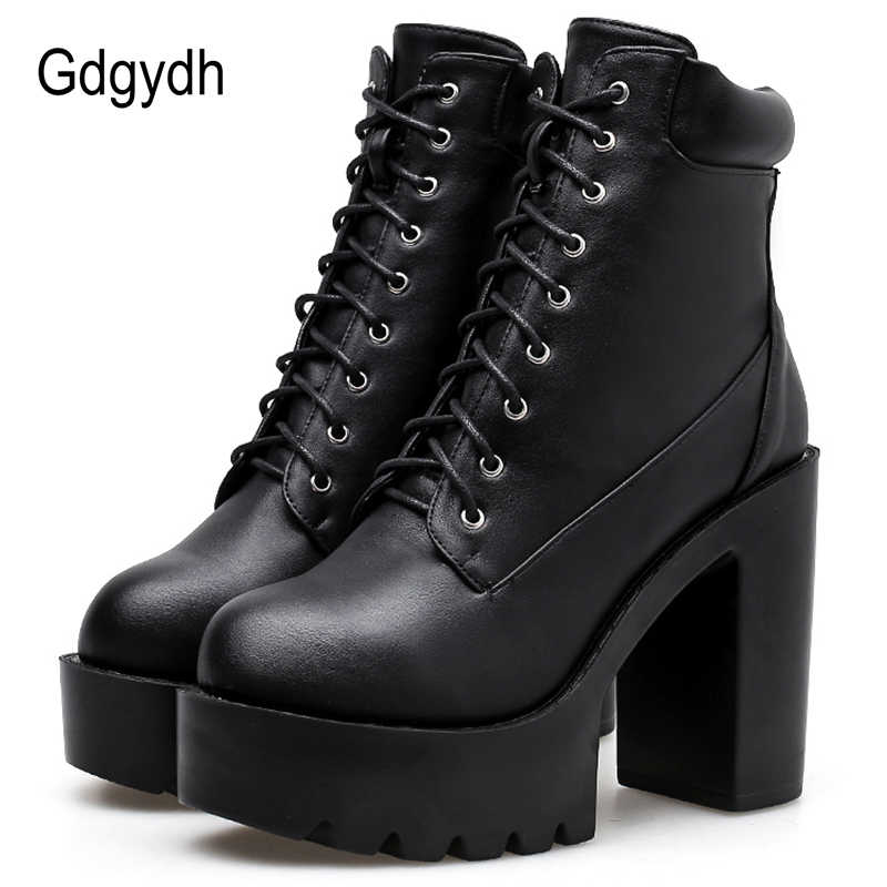 Gdgydh ใหม่มาถึงหนังสีดำรองเท้าผู้หญิง Lace Up Chunky รองเท้าส้นสูงสุภาพสตรีรองเท้าฤดูใบไม้ร่วงจัดส่งฟรี