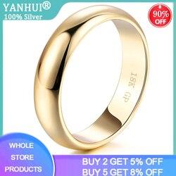 Yanhui Eenvoudige Ontwerp Paar Ronde Ringen 18K Wit/Geel/Rose Gold Fashion Wedding Bands Sieraden Voor Mannen & Vrouwen Lover Hot Koop