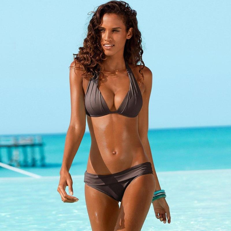 Push Up Bikini 2020 Two Piece Swimsuit Women High Waist Black Pink Bikini Set Plus Size Swimwear Beach Bathing Suits Bikinis 2XL 4