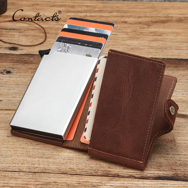 CONTACT'S Credit Card Holder Crazy Horse Leather Business Bank Card Wallet Automatic Pop-up Design Aluminum Rfid ID Card Case