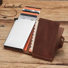 Contactsクレジットカードホルダークレイジーホースレザービジネス銀行カード財布自動ポップアップデザインアルミrfid idカードケース